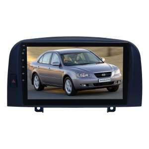 Штатная магнитола для Hyundai Sonata (NF) 2004-2008 гг. LeTrun 4104-4355 9 дюймов (крутилки) KLD с 1DIN корпусом Android 10.x PX6 4+64 DSP