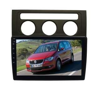 Штатная магнитола для Volkswagen Touran 2003-2010 гг. (с климат контролем) LeTrun 4084-4356 10 дюймов (крутилки) KLD с 1DIN корпусом Android 10 PX6 4+64 DSP